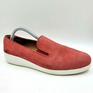 FitFlop Supercomff F-Pop Red Leather Loafers9